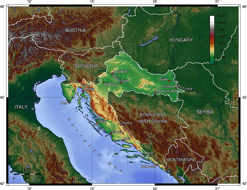 Cartina Fisica di Croazia